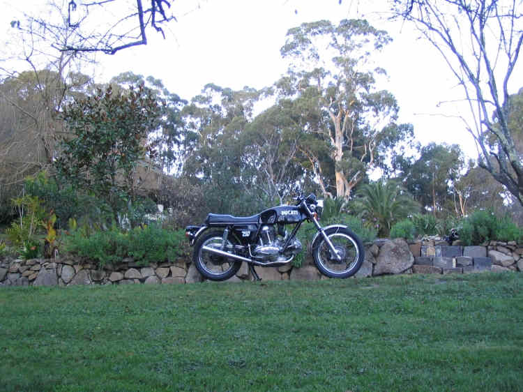 1972 Ducati 750 GT in the hills winter afternoon