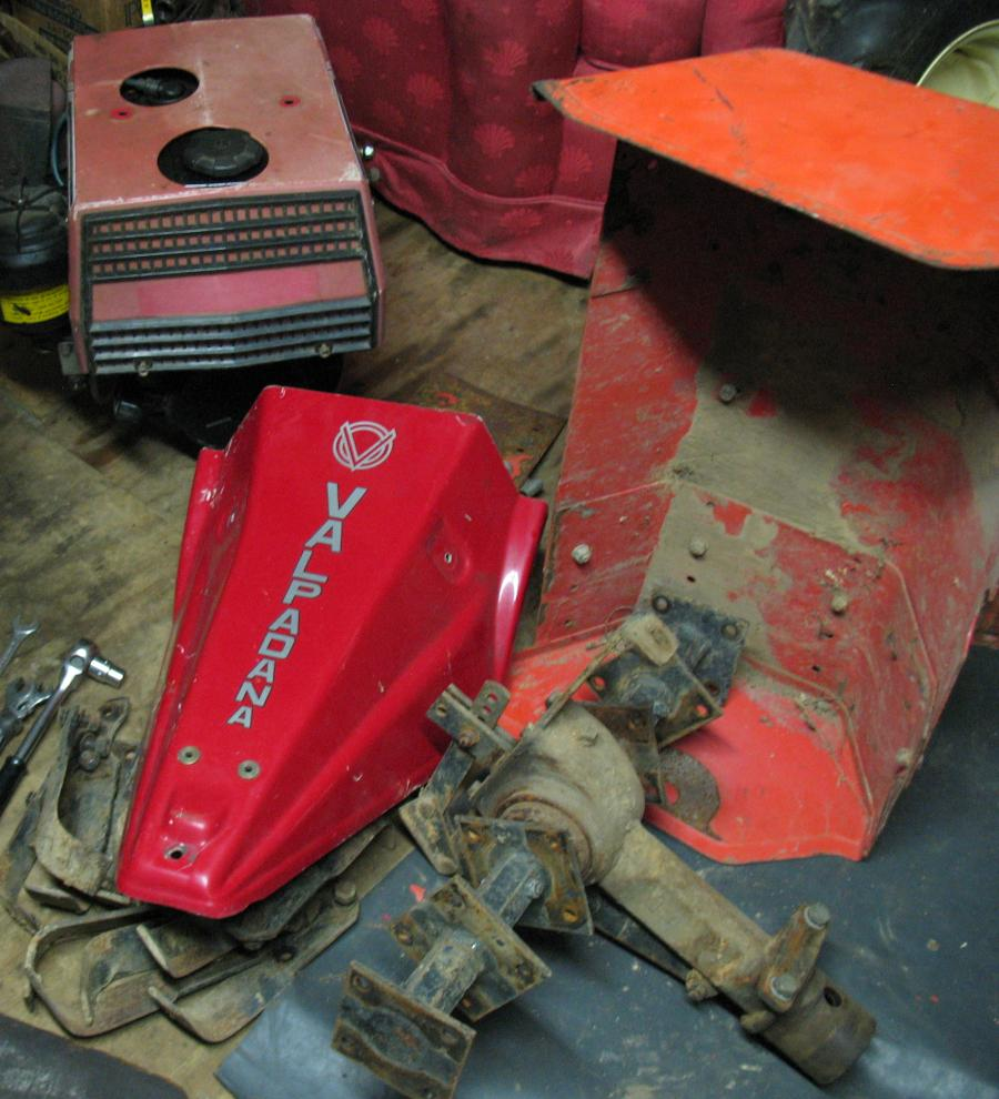 Rotary Hoe in pieces and Sickle Mower Cover